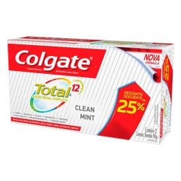 CREME DENTAL COLGATE TOTAL 12 CLEAN MINT COM 2 UNIDADES